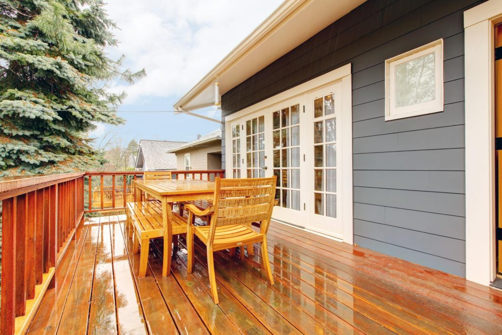 wood deck in the back yard